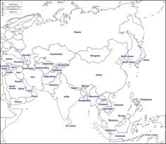 Asia : free map, free blank map, free outline map, free base map : states, names (white) Geography For Kids, Maps For Kids, World Geography, Free Printable World Map, Printable Maps, Printables, Colouring Pages, Printable Coloring Pages, World Map Outline