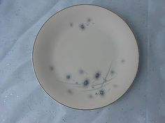 Star Burst  W/Flowers  Fine China JAPAN SILVER BLUE VINTAGE PLATE MID CENTURY