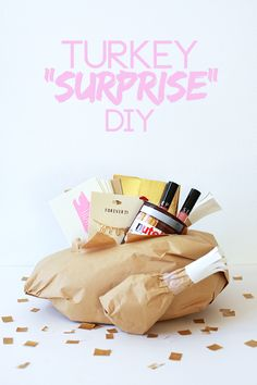 Perfect for a NOVEMBER BIRTHDAY! Or FOR A HOSTESS GIFT on THANKSGIVING!!! Paper Turkey Surprise DIY | The Band Wife