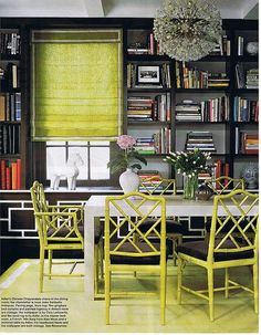 Chartreuse & Grey Dining and Bookshelves