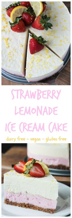 Strawberry Lemonade Ice Cream Cake - this dreamy dairy free frozen treat is cool, creamy, sweet, and tart. You are going to fall in love with it!! You won't believe how delicious it is...and healthier than typical ice cream too!