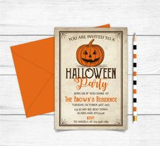 Adult Halloween Invitations, Pumpkin Invitation, You Are Invited, Scary Halloween, Paper Goods, Rsvp, Printable, Diy Projects, Orange