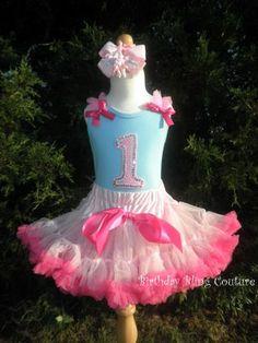 Girls Birthday Light Blue & Pink Number Pettiskirt Set