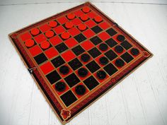 Vintage Plastic Checkers and Well Worn Aged Board Game - Retro GameRoom Equipment for Repurposing - Man Cave Bar Decor - Industrial Pieces $28.00 by DivineOrders