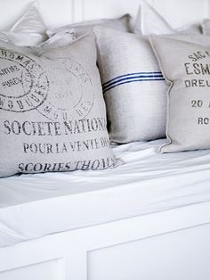 grain sack pillows  This site is full of beautiful pictures aka my dream house