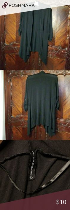 Perfect layering piece Black lightweight cardigan 3 4 sleeves Waterfall  front Seam across lower back f97b11e573fe0