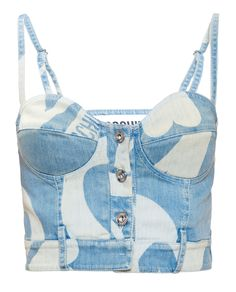 Moschino Denim Crop Top in Blue