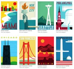 """serigraphs - Simple & Graphic Travel Posters series by """"The Heads of State"""" - Chicago Poster, Seattle, Head Of State, Poster Series, Branding, Tumblr, Exterior, Vintage Travel Posters, Typography Design"""
