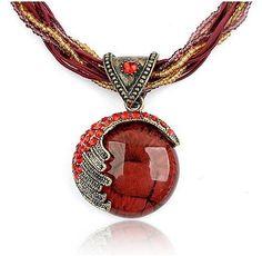 F & U Pendientes Joyería de La Vendimia Collar de Cristal de Bohemia Collar de Cadena de Múltiples Capas Hecho A Mano de Estilo Retro
