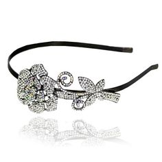 Prom Collection Crystal Rose Sensation Tiara Silver - 4EverBling