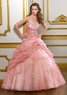 Dramatic Sweetheart Beaded Appliques Pink Organza Bridal Gowns on sale US$172 A-line Wedding Dresses. Would like to see it in white