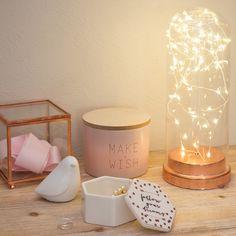 Lampe in Glockenform mit LED-Leuchtgirlande H 27 cm COPPER | Maisons du Monde