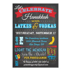 """Chalkboard Hanukkah Latkes & Vodkas Invitations Super cute and fun Hanukkah """"Latkes and Vodkas"""" party invitations with banners, menorah, dreidel and chalk graphics all on the chalkboard background. Easy to edit and great for your Chanukah party. Need help, just email me! Hand drawn illustrati...read more"""