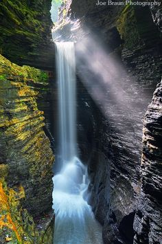 Magical afternoon light hits Cavern Cascade. - finger lakes