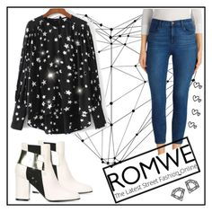 """Romwe"" by behijadedic ❤ liked on Polyvore featuring WALL, Pollini, J Brand and Myia Bonner"