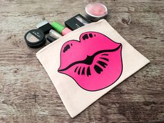 Zippered canvas makeup bag with pink lips. Lips are designed from a permanent heat transfer material. Pink Lips Makeup, Hot Pink Lips, Lip Makeup, Makeup Cosmetics, Customized Gifts, Personalized Gifts, Custom Makeup Bags, Stocking Stuffers For Her, Lots Of Makeup