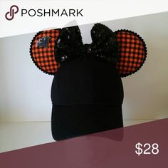 Halloween inspired Minnie Mouse Hat Ears Handmade Minnie Ears All fabric on a brand new hat Great for your next trip to Disney Disney Accessories