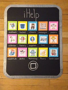 iPhone classroom jobs board - black poster board, silver sharpie, and colored envelopes