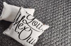 OVERSEAS-Plaid Microfiber Porto Quilt-Black, Pillow Fur-Off white, Pillow You Me Oui-Off white