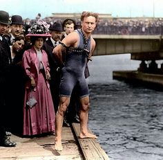 A photo of the great magician Houdini. (Color added.)