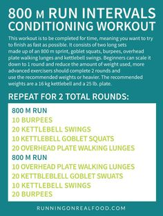 Exercise For Beginners The 800 m Run Interval Conditioning Workout Treadmill Workouts, Running Workouts, Hiit, Fun Workouts, Circuit Workouts, Interval Running, Start Running, Train Hard, Track Training