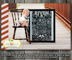 First Birthday Chalkboard Poster Sign Printable / DIGITAL / baby's Girl or Boy 1st / Baby's First Birthday / Plus FREE Web File