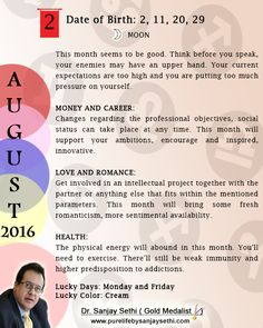 #Numerology #monthly predictions for August'16 by Dr.Sanjay Sethi-Gold Medalist and World's No.1 #AstroNumerologist.