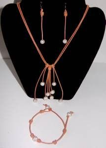 Pearl and Leather Necklace Bracelet and 14 K GP Earrings Lauralee Collection ~~~