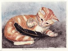 ACEO PRINT Ginger Cat Playing with a Raven Feather by OneKeeneKat, $3.99