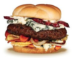 The Couch Potato Burger; with Wisconsin Blue Cheese, Potato Chips, Sauteed Onions & Peppered Pork