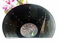 ♫ PFAU ♫ Ohrring-Plattenständer von ♫EENE-MEENE-PLATTEN♫ auf DaWanda.com