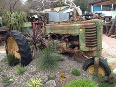 Old tractor as landscape art, Cambria, CA Farmhouse Landscaping, Home Landscaping, Antique Tractors, Old Tractors, Tractor Decor, Pioneer Village, Abandoned Vehicles, Classic Tractor, Farm Tools