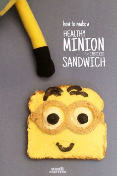 Make this adorable Minion sandwich - a healthy lunch or snack, perfect for kids. Your kids will even have fun making it with you! (sponsored)