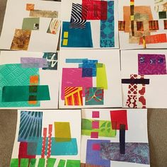 Monoprint collage studies with gelli prints and gelli printed papers…