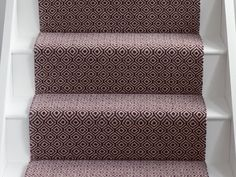 Quirky b geo damson stair runner. white painted stair treads, risers and skirting Carpet Stairs, Carpet Flooring, Rugs On Carpet, Carpets, Alternative Flooring, Hall Runner, Painted Stairs, Stair Treads, White Paints