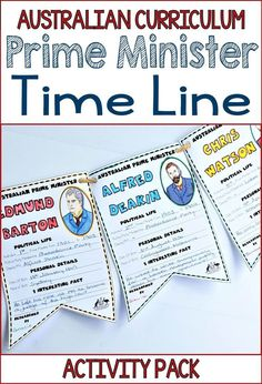 You'll find two hands-on and interactive Australian Prime Minister timelines in this pack. The Australian Curriculum for Year 5 & 6 HASS features timelines heavily and these activities are a great way to introduce your students to Australia's 30 Prime Min Curriculum Planning, Homeschool Curriculum, Homeschooling, Teaching History, Teaching Resources, Teaching Memes, Teaching Ideas, Primary Teaching, Primary School