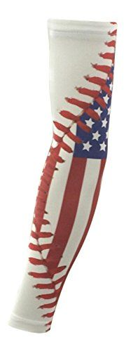 NEW! Sports Farm - US Flag and Baseball Stitch Sports Arm Sleeve (Large) * Continue to the product at the image link.