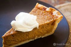 Old Fashioned Pumpkin Pie ~ Easy and delicious traditional pumpkin pie recipe with fresh or canned pumpkin puree, cream, brown and white sugar, eggs, and pumpkin spice. ~ SimplyRecipes.com