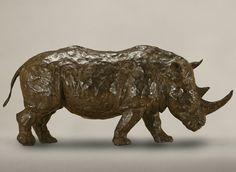 Rinoceronte, bronce a la cera perdida, 20x45x15cm, 2009.  www.duchini-zurbaran.com.ar