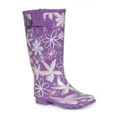 Womens Wide Fit Purple Flowers Print Wellington Boot with Side Buckle Strap Trim on a Low Heel - £14.99 - www.shoezone.com, #wellies, #wellington boots, #shoes, #apparel, #festival