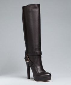 Gucci black leather 'Stirrup' platform tall boots