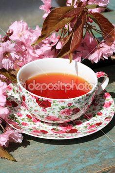 Beautiful japanese cherry tree and a cup of tea — Stock Photo © Julietart #25852921