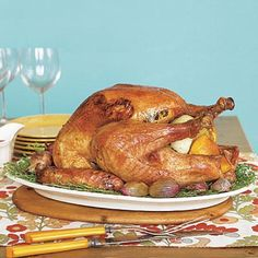 Thanksgiving recipes: Thyme-Roasted Turkey with Cranberry Gravy
