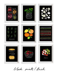 Black Prints Your Choice 2 Print Set - 11x15 - Food Art - Kitchen Wall Decor - archival fine art giclée prints via Etsy