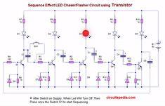 5 LED Blinking Chaser Flasher Running Circuit using Transistor Electronics Basics, Electronics Projects, Electronic Schematics, Light Emitting Diode, Led Diy, Circuit Projects, Circuit Diagram, Cool Tech, Planer