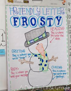 Winter is Here!!--Snowman model is used to teach parts of a friendly letter!