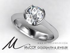 half-bezel engagement ring