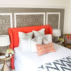DIY Coral headboard with arms + grasscloth wallpaper panels with nailhead design + brass accessories + diy pillows + gray white chevron duvet cover from west elm via Sarah M. Upholstered Furniture, Decor, Creative Headboard, Home, Bedroom Design, Diy Headboard Upholstered, Bedroom Decor, Interior Design, Upholstered Headboard