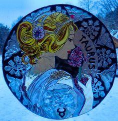 WICOART STICKER WINDOW COLOR CLING GLASS PAINTING ZODIAC ART DECO TORO