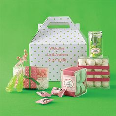 Candy Wedding Welcome Basket. A Gable Box, $30 for six, from Name Maker, namemaker.com, lends a vintage vibe to this sugary salutation. Containers, $1.40-$2.50, all from The Container Store, containerstore.com. Oval sticker, $9 for 45; square sticker, $9 for 12, both from MyWeddingLabels.com. All candy from Economy Candy, economycandy.com. All ribbon from M&J Trimming, mjtrim.com.